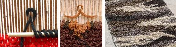 Illustration de 2 méthodes pour faire des noeuds de tapis et image d'un tapis à poils polychrome