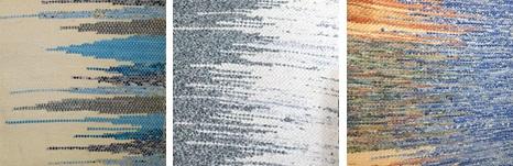Trois illustrations de tissus effectués selon la méthode des trames jointes